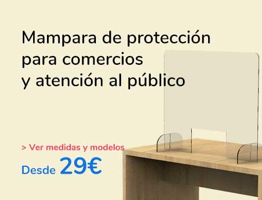 Mampara de protección para comercios y atención al público